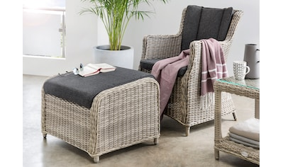 DESTINY Gartenmöbelset »Luna/Casa«, 2 - tlg., Sessel, Fußhocker, Alu/Polyrattan kaufen