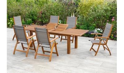 MERXX Gartenmöbelset »Acapulco«, (7 tlg.), 6 Stühle mit ausziehbarem Tisch kaufen