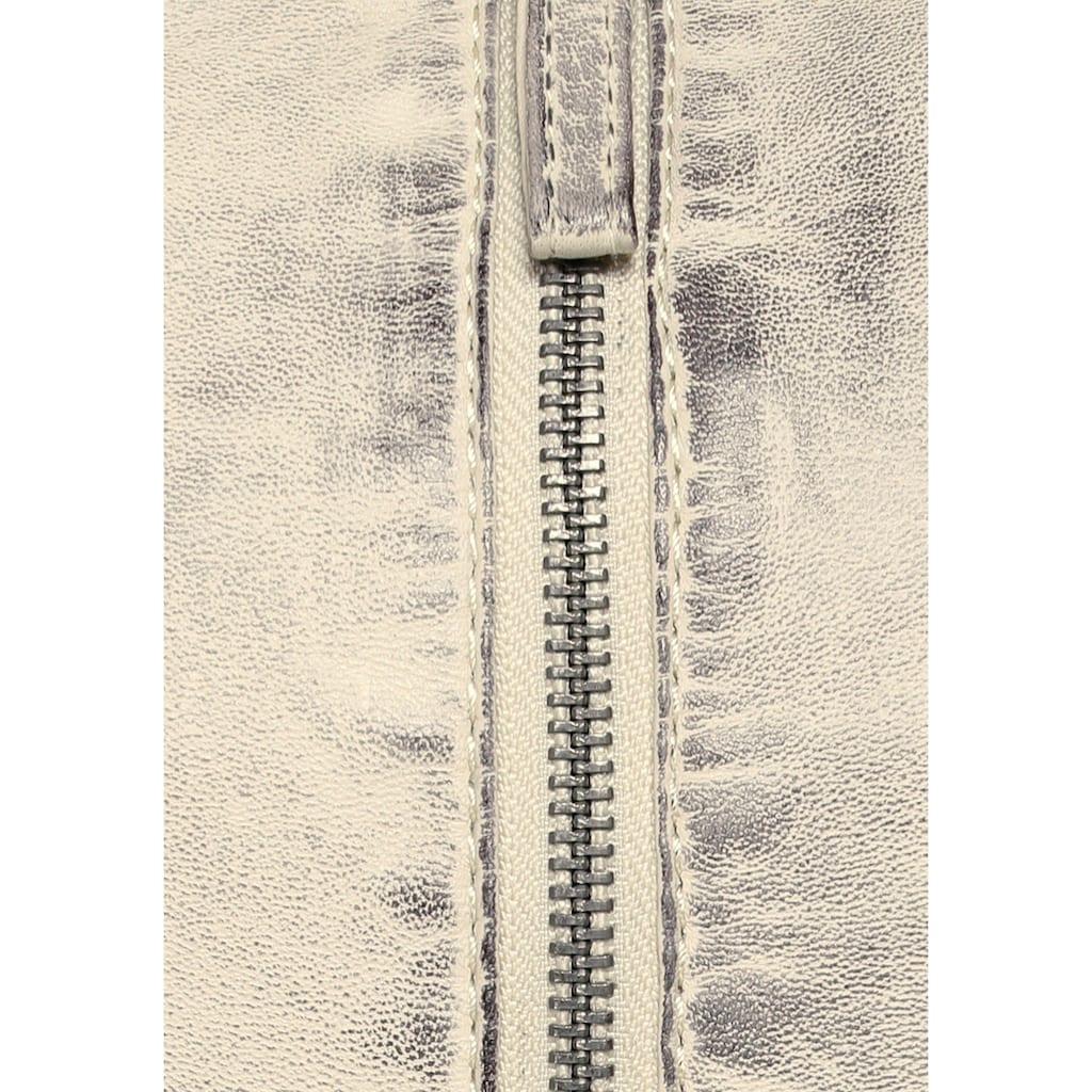 KangaROOS Lederjacke, mit Kapuze aus Shirt-Ware