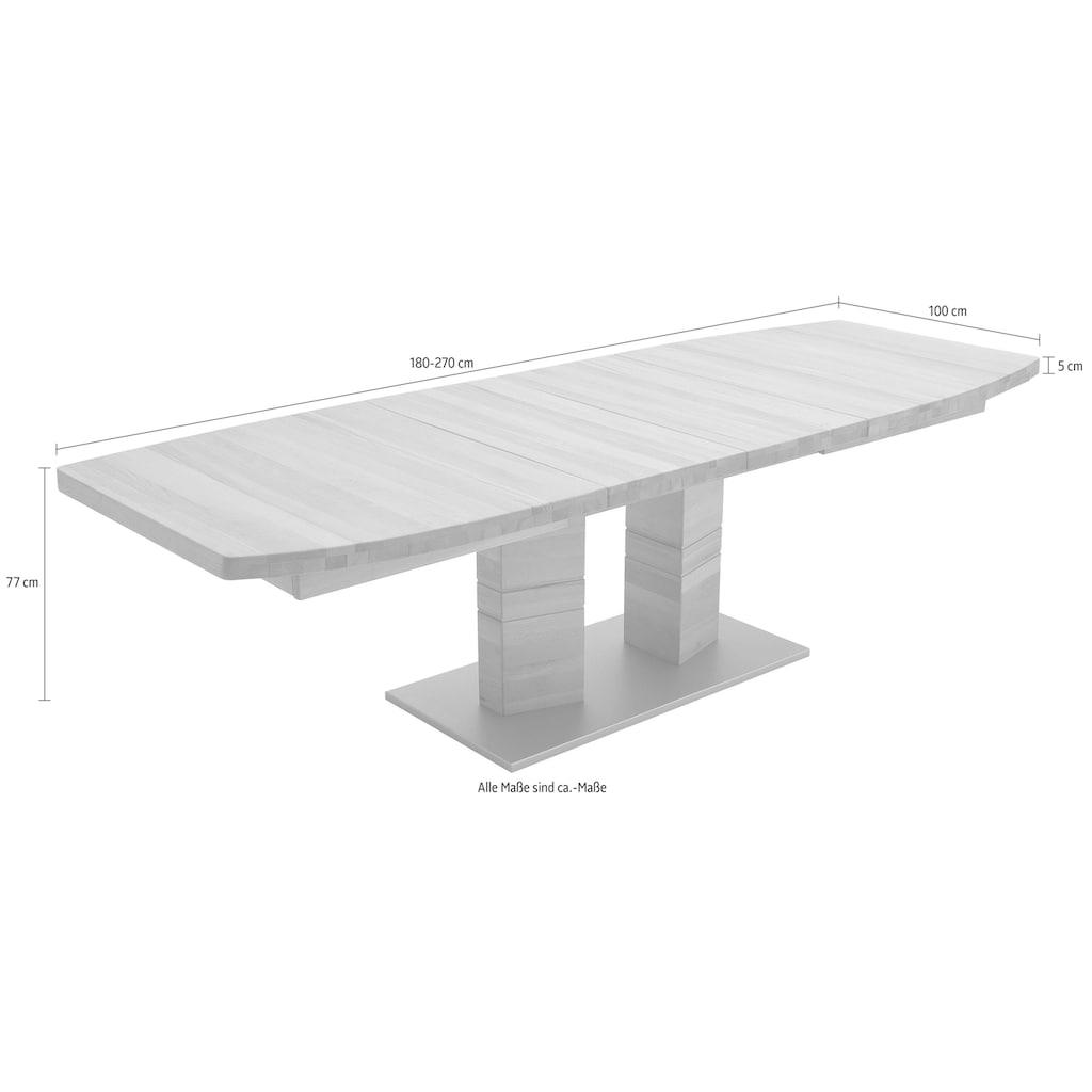 MCA furniture Esstisch »Cuneo«, Esstisch in Bootsform mit 2 Säulen, ausziehbar