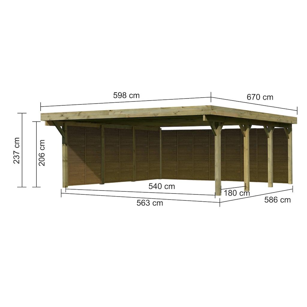 Karibu Doppelcarport »Classic 2«, Holz, 540 cm, braun, mit Rückwand und 3 Seitenwänden