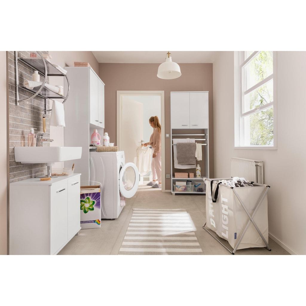 Schildmeyer Waschmaschinenumbauschrank »Lumo«, Breite 70 cm, mit 2 Türen, Metallgriffen & große offene Fächer