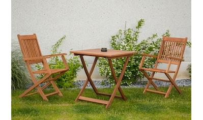 MERXX Gartenmöbelset »Rio«, 3tlg., 2 Sessel, Tisch, klappbar, Eukalyptusholz kaufen