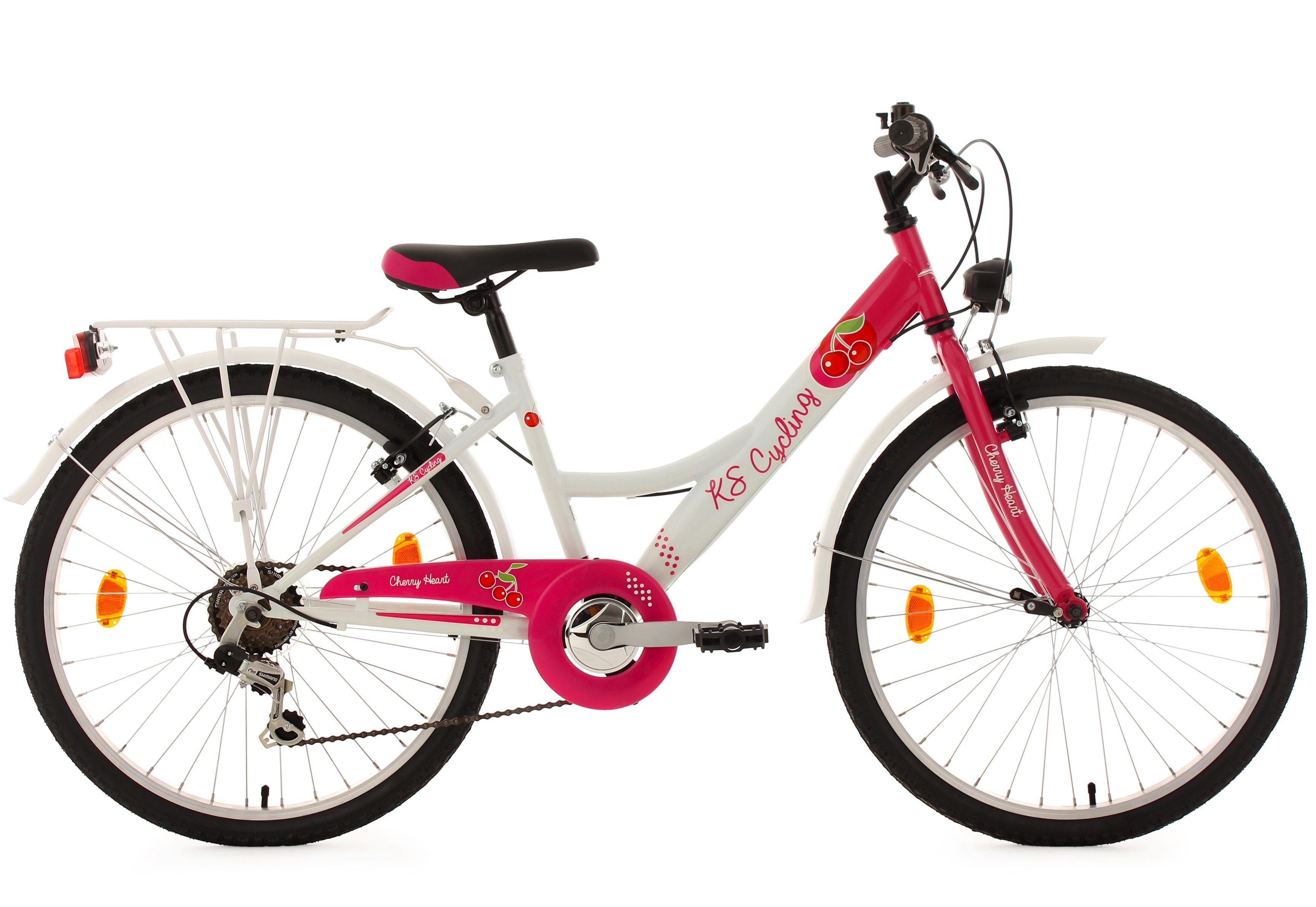 Mädchen Kinderfahrrad, 24 Zoll, weiß-pink, 6 Gang Kettenschaltung, »Cherry Heart«