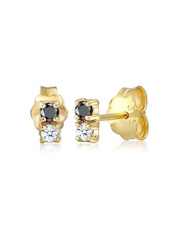 Elli Paar Ohrstecker »Bi-Color Schwarz Weiß Diamant (0.12 ct) 375er Gold« kaufen