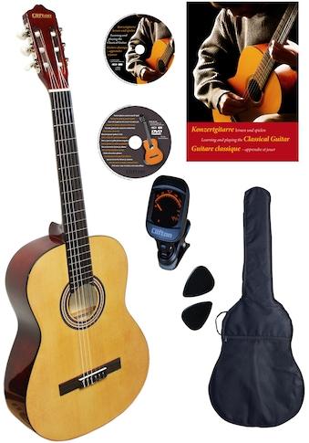 Clifton Konzertgitarre »Konzertgitarren Set, Natur«, 4/4, Komplettset kaufen