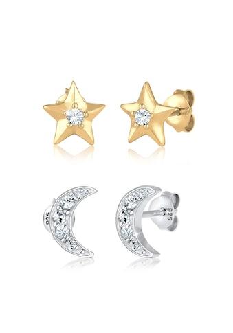 Elli Ohrring-Set »Sterne Halbmond Kristalle Silber« kaufen