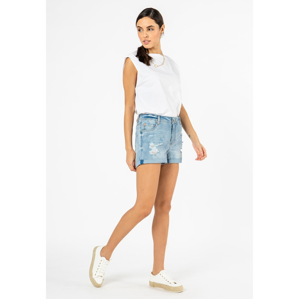 SUBLEVEL Jeansshorts, im Used-Look