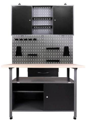 ONDIS24 Werkstatt - Set inkl. Werkbank, Werkzeugschrank, Lochwand & 22 - tlg. Hakenset kaufen