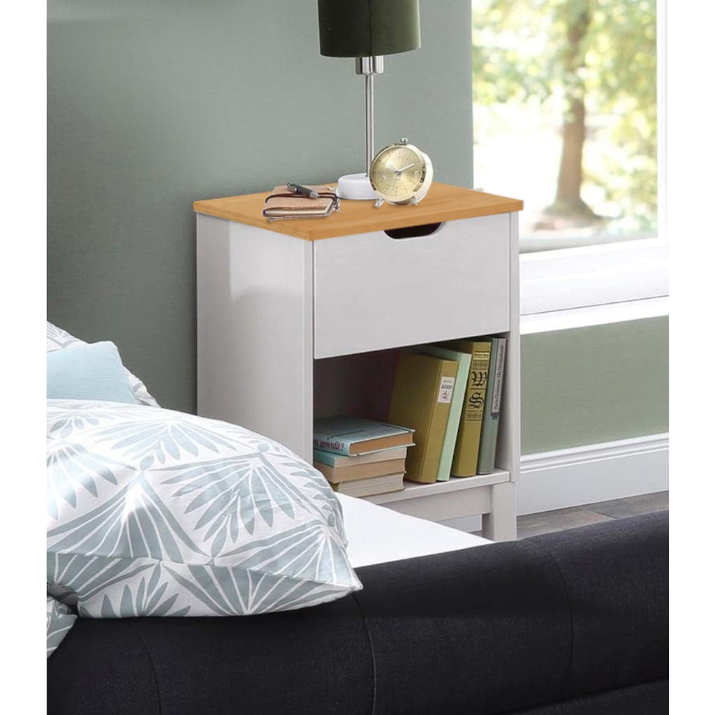 Home affaire Nachtkonsole »Post«, aus schönem massivem Kiefernholz, mit einer schönen Stauraummöglichkeit durch die Schublade, Breite 38 cm