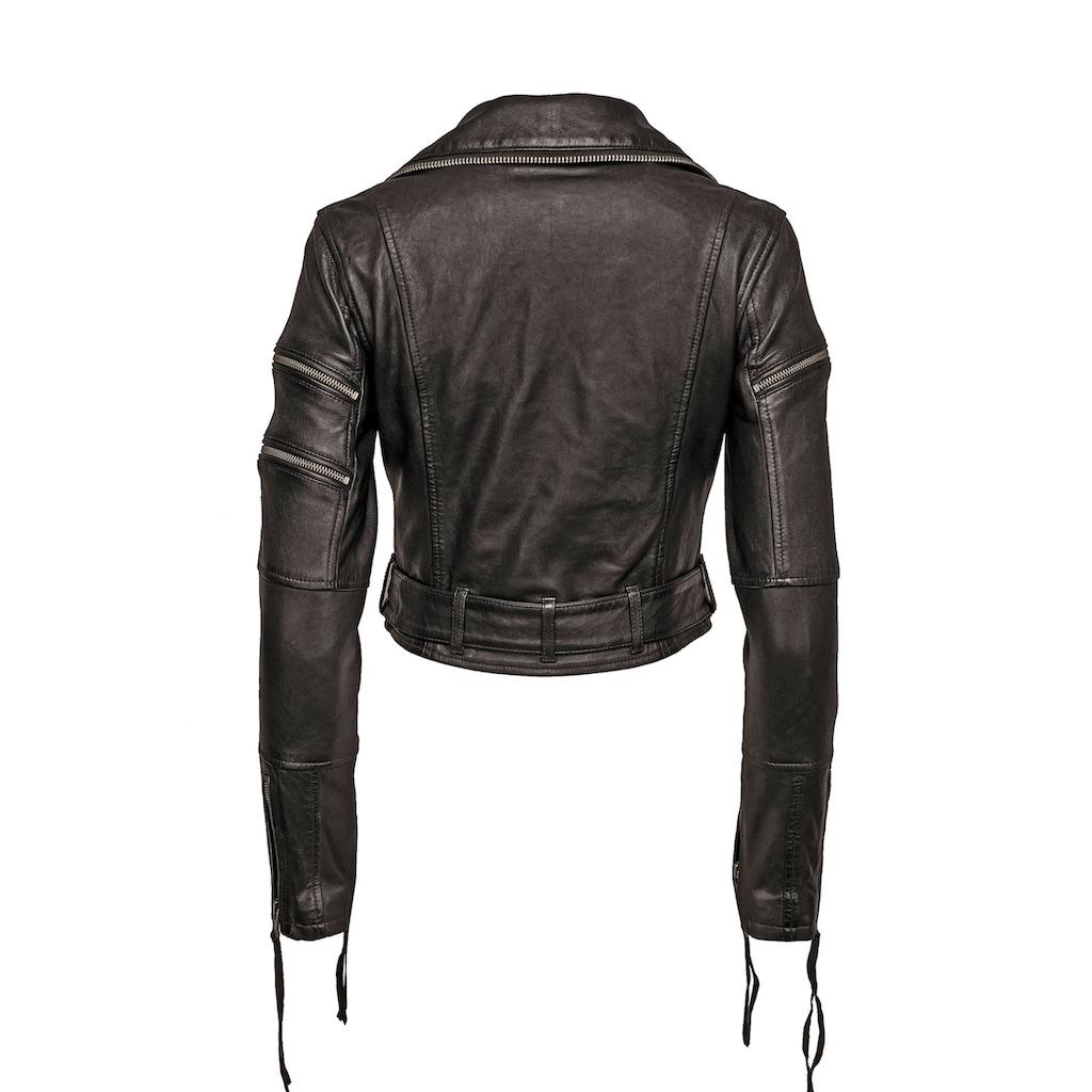 trueprodigy Bikerjacke »Izzy«, mit Reißverschluss und Gürtel
