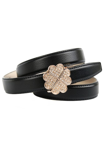 Anthoni Crown Ledergürtel, mit Kleeblatt-Schließe und Glitzersteinen kaufen