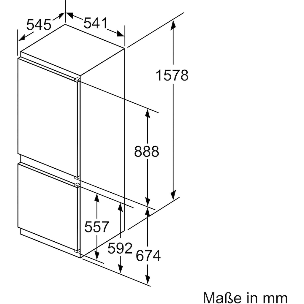 BOSCH Einbaukühlgefrierkombination »KIV77VSF0«, 4