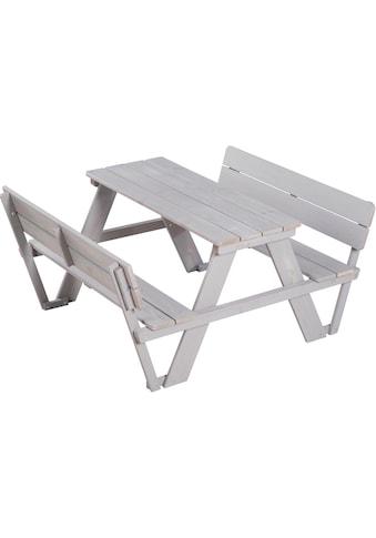 roba® Kindersitzgruppe »Picknick for 4 Outdoor Deluxe, Grau«, (Set, 1 tlg.), mit Lehne kaufen