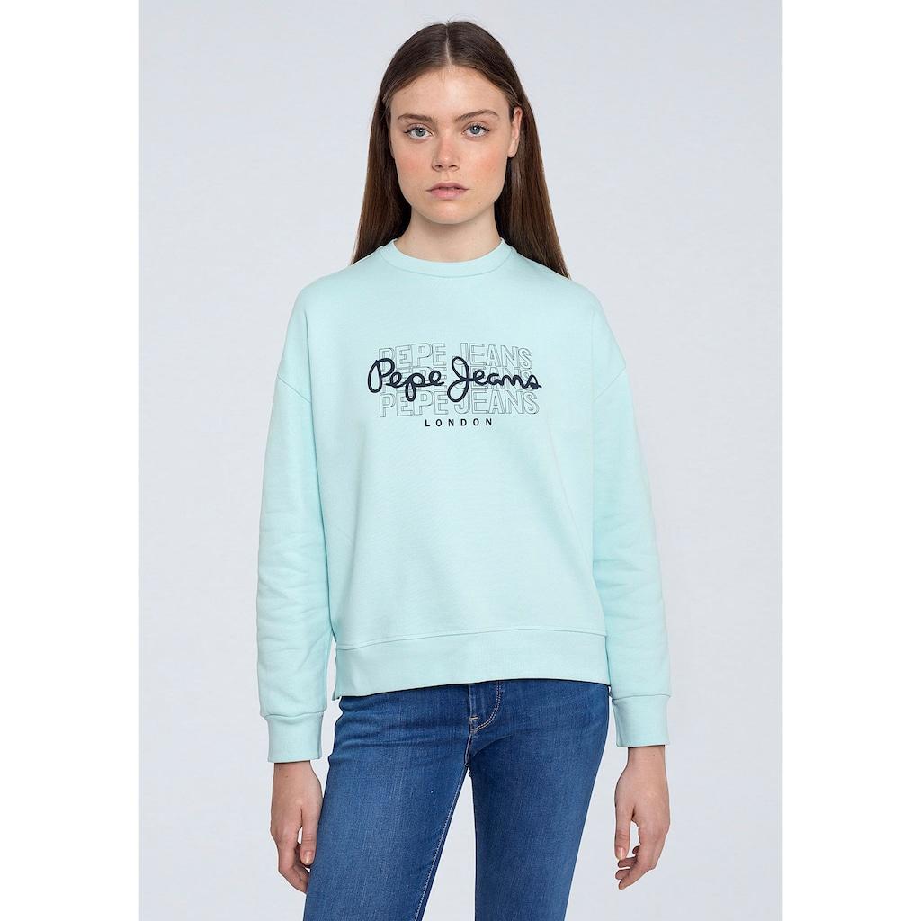 Pepe Jeans Sweater »BERE«, mit großem dreifachem Marken-Logo-Druck im Brustbereich