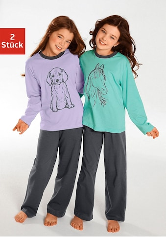 Pyjama, (2 tlg., 2 Stück), Oberteile in schönen Farben mit Tierdruck kaufen