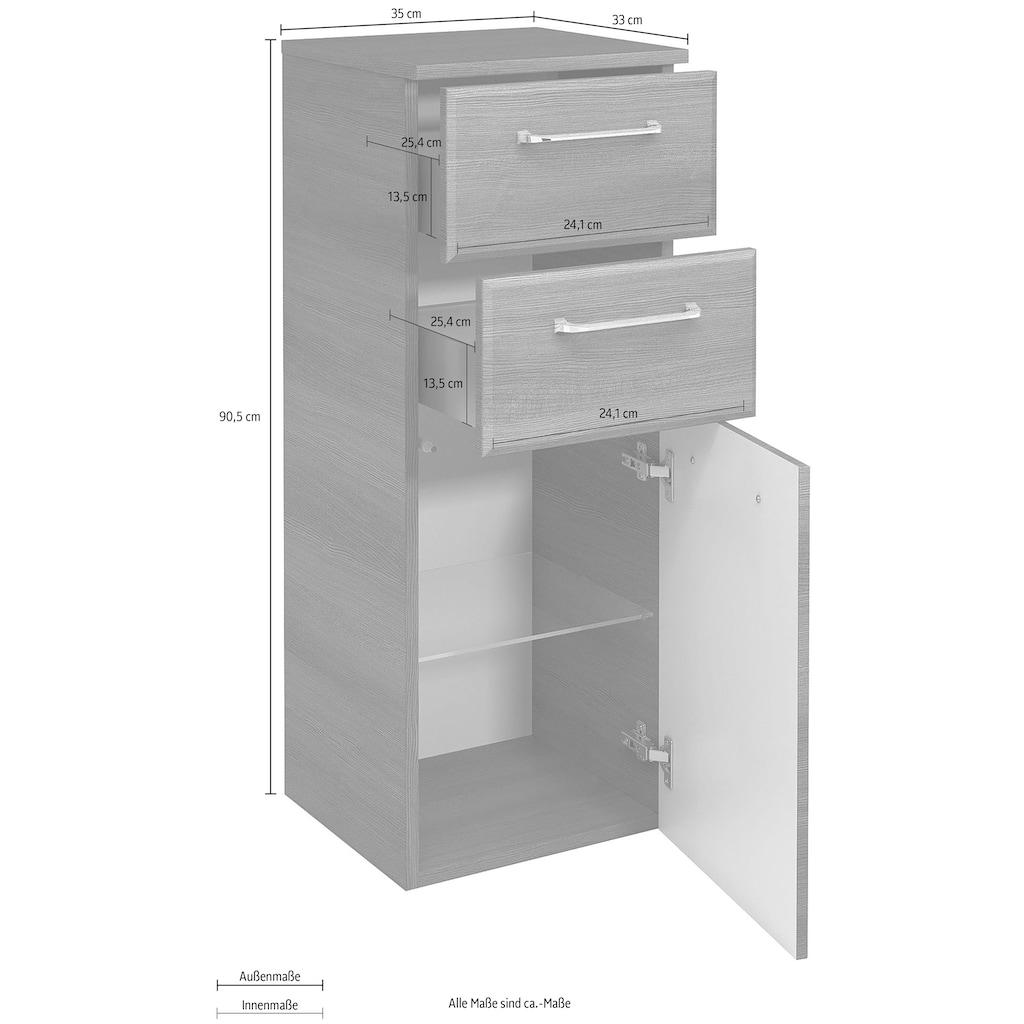PELIPAL Unterschrank »Quickset«, Breite 35 cm, Höhe 90,5 cm, Glaseinlegeboden, Türdämpfer