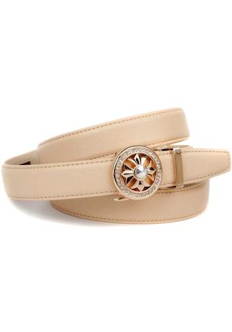 Anthoni Crown Ledergürtel, Automatik Ledergürtel in beige, Schließe mit Glitzersteinen kaufen