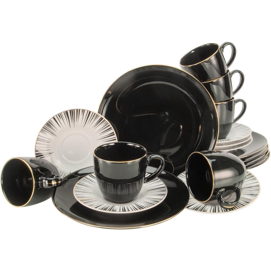 CreaTable Kaffeeservice »Enjoy Black Style«, (Set, 18 tlg.)