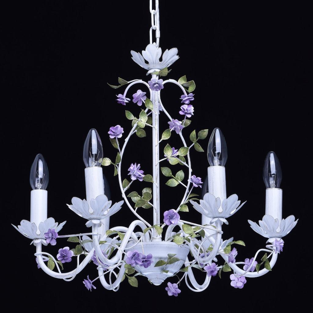 MW-LIGHT Kronleuchter »Provence«, E14, 1 St., Neutralweiß, Hängeleuchte, Pendellampe, Pendelleuchte