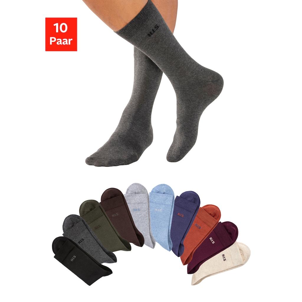 H.I.S Socken, (10 Paar), mit farbigem Innenbund