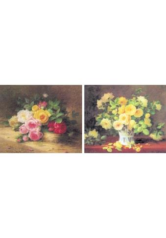 DELAVITA Bild »BURES / Blumen in Vase / Rosenstrauch«, (2er Set) kaufen