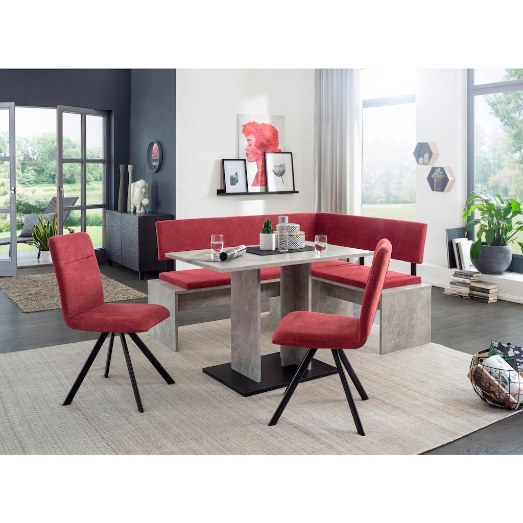 SCHÖSSWENDER Säulen-Esstisch »Elegance«, modernes Design, stabiles Säulengestell beton optik, Bodenplatte Dekor schwarz