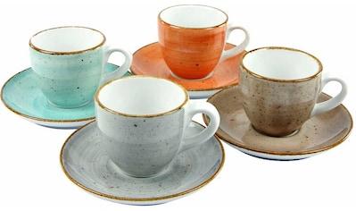 CreaTable Espressotasse »VINTAGE NATURE«, (Set, 8 tlg.), 4 Tassen, 4 Untertassen kaufen