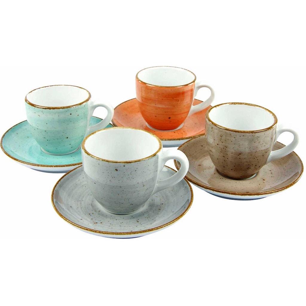 CreaTable Espressotasse »VINTAGE NATURE«, (Set, 8 tlg.), 4 Tassen, 4 Untertassen