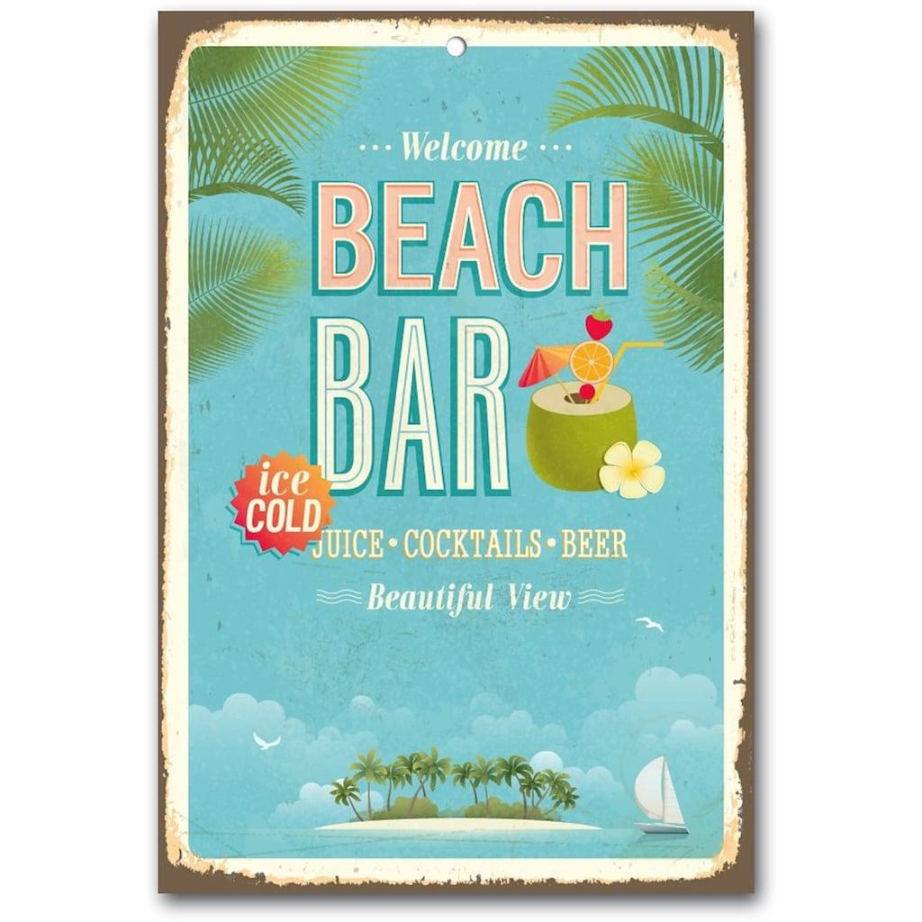 Home affaire Metallschild »Beach Bar«, Maße (B/H): ca. 30/45 cm