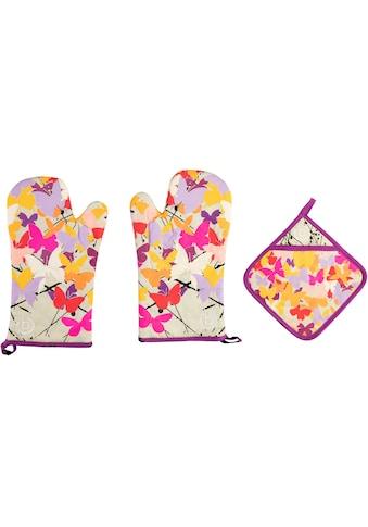 bugatti Topfhandschuhe »Butterfly«, (Set, 3 tlg., bestehend aus 2x Ofenhandschuh, 1x... kaufen
