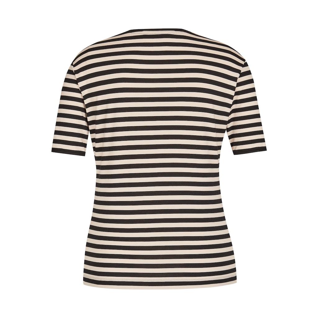 Rabe V-Shirt, mit gestreiftem Muster und halblangen Ärmeln