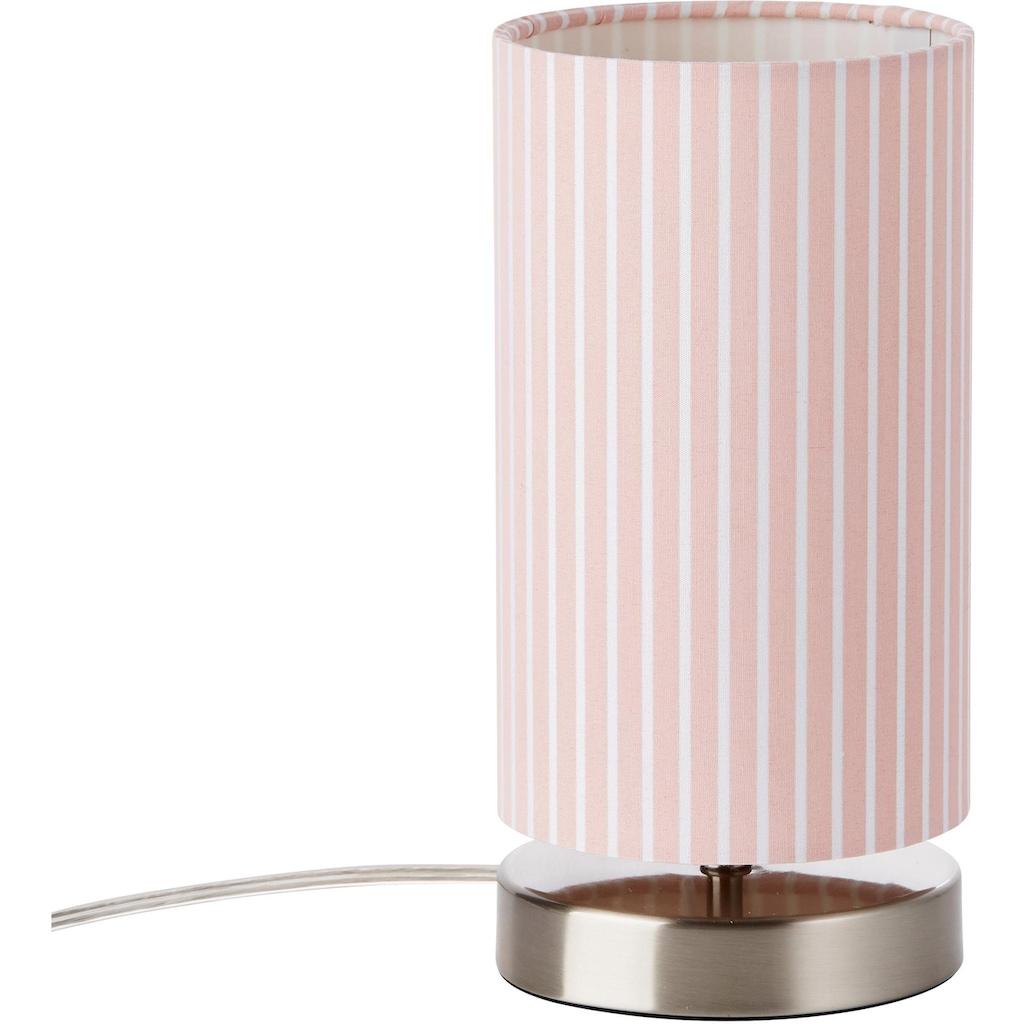 Lüttenhütt Tischleuchte »Striepe«, E14, Tischlampe mit Streifen - Stoffschirm Ø 12 cm, rosa / weiß gestreift, Touch Dimmer