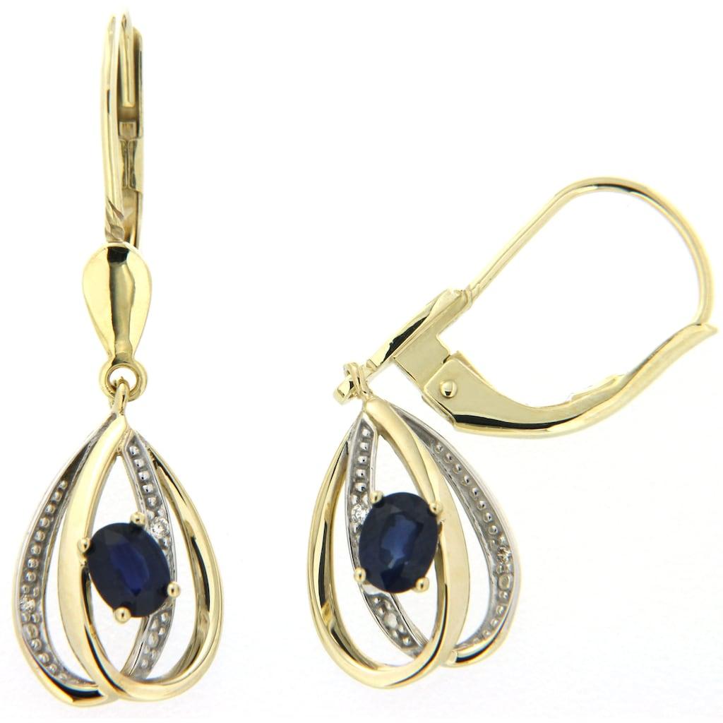 Firetti Paar Ohrhänger »elegant geschwunge Tropfenform«, mit Saphiren und Brillanten