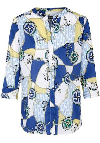Basler Bluse mit maritimem Print und Ösen kaufen
