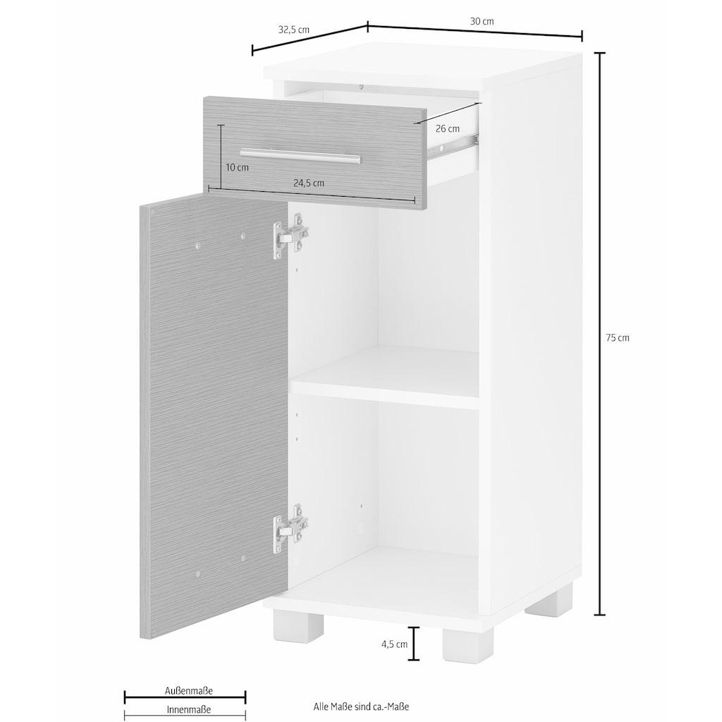 Schildmeyer Unterschrank »Palermo«, Breite 30 cm, verstellbarer Einlegeboden, wechselbarer Türanschlag, Metallgriffe