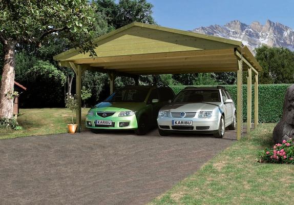 Doppelcarport aus Holz mit Satteldach