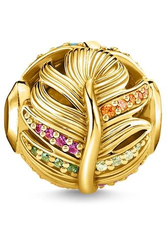 THOMAS SABO Bead »Feder gold, K0340-488-7«, mit synth. Korund, Glassteinen und Zirkonia kaufen