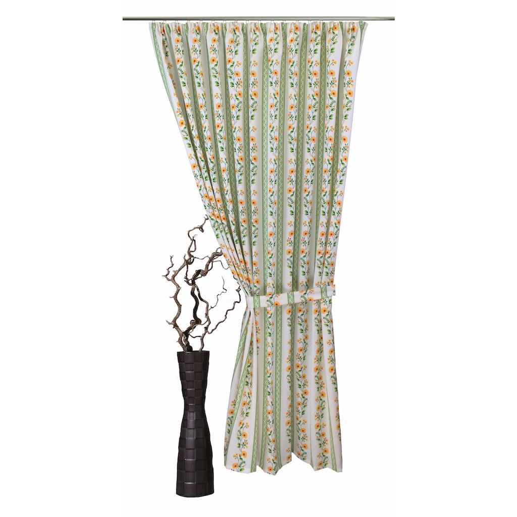 VHG Vorhang »Fanny«, Leinenoptik, Blume, Streifen