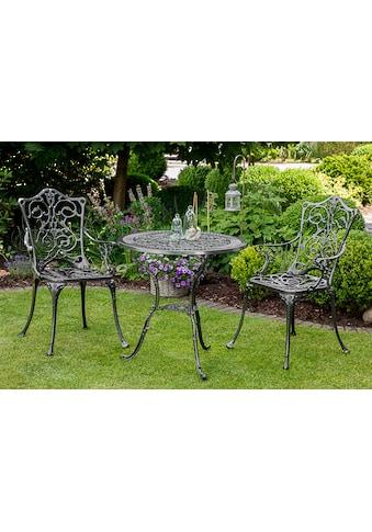 MERXX Gartenmöbelset »Lugano«, 3 - tlg., 2 Sessel, Tisch Ø70 cm, Aluminium, grau kaufen