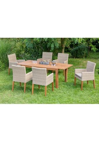 MERXX Gartenmöbelset »Ranzano«, 13 - tlg., 6x Sessel, Tisch 90x200 cm, inkl. Sitzkissen kaufen