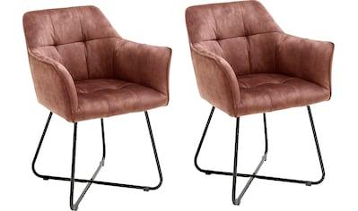 MCA furniture Esszimmerstuhl »Panama«, 2er-Set, Vintage Veloursoptik mit Keder, Stuhl belastbar bis 120 Kg kaufen