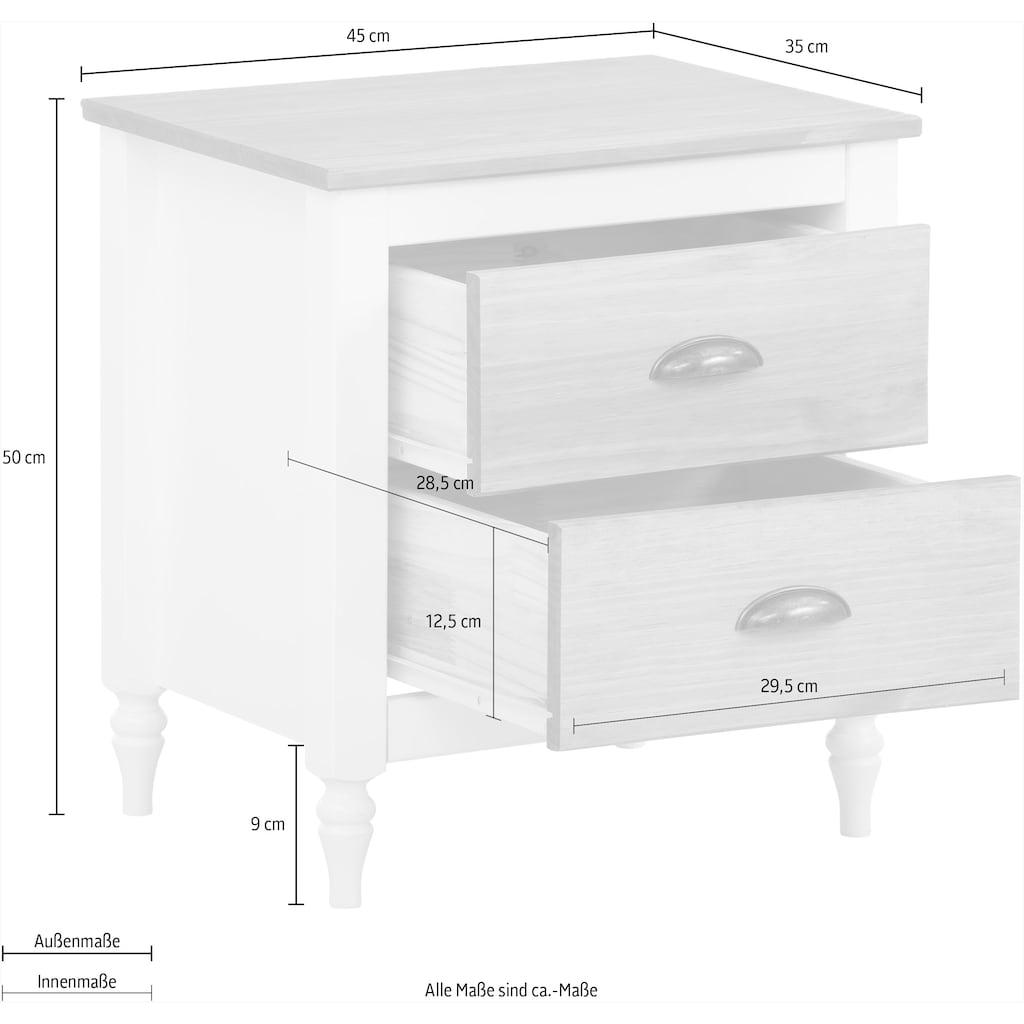 Home affaire Nachtkommode »Fridau«, aus massivem Kiefernholz, mit Muschelgriffen, Breite 45 cm