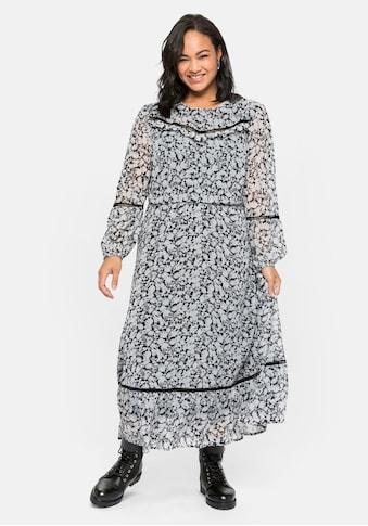 Sheego Chiffonkleid, mit verspielten Details, mit Unterkleid kaufen