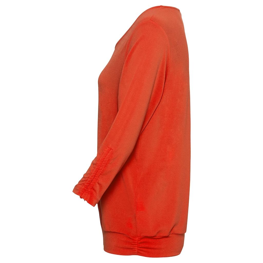 """bianca Blusenshirt »NEA«, in der Trendfarbe """"Flame"""" mit breitem Bündchen"""