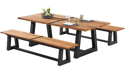 BEST Gartenmöbelset »Campione«, 3 - tlg., 2 Bänke, Tisch 220x100 cm, Teakholz kaufen