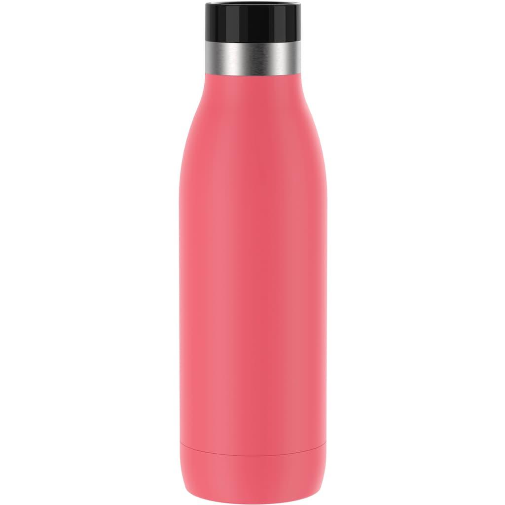 Emsa Trinkflasche »Bludrop Color«, (1 tlg.), nachhaltig, wiederverwendbar, Flasche aus Edelstahl, Pulverbeschichtung, Quick-Press Verschluss, ergonomischer 360° Trinkgenuss, 12h warm 24h kühl, spülmaschinenfest, auslaufsicher