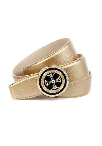Anthoni Crown Ledergürtel, mit runder goldfarbener Schließe, glänzende Oberfläche kaufen