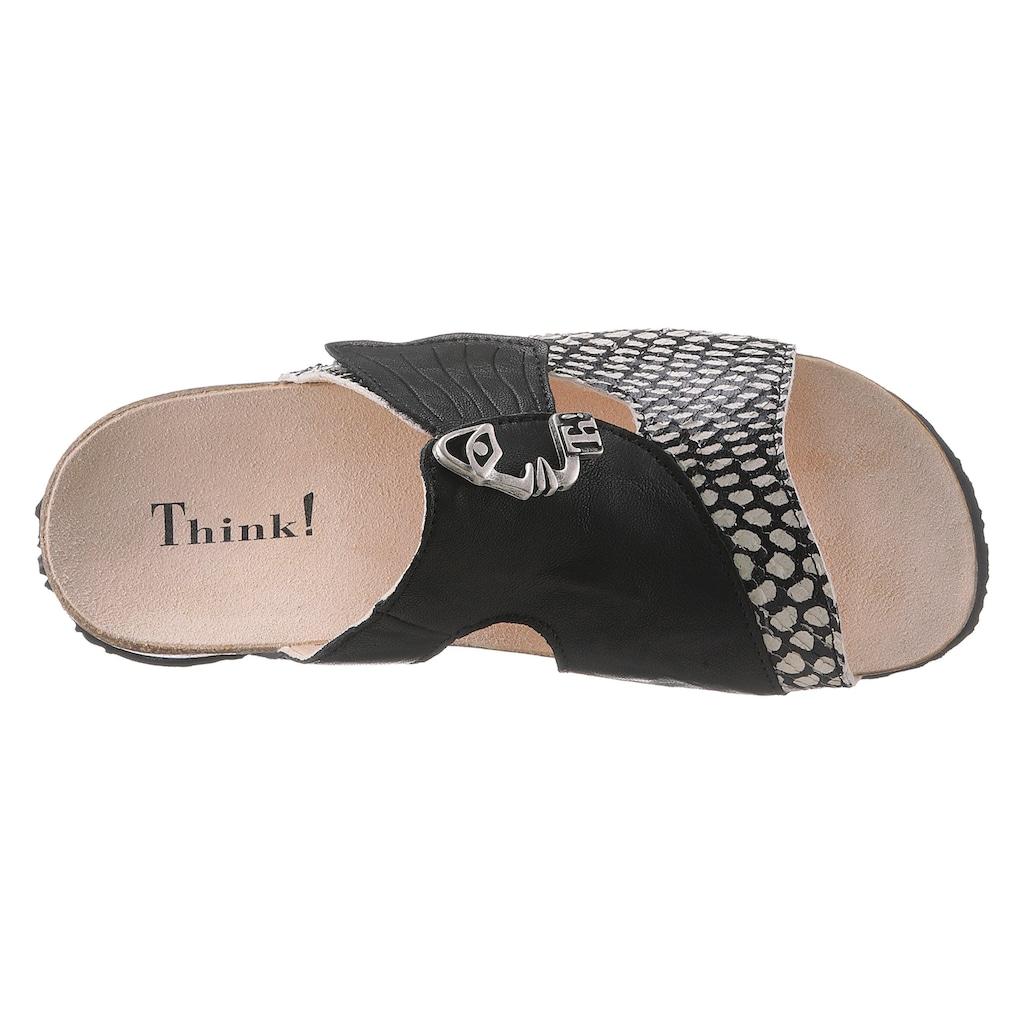 Think! Pantolette »Mizzi«, in aufwendiger Optik