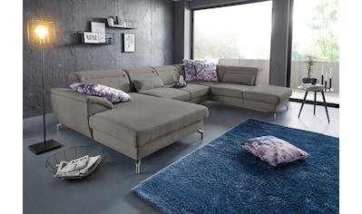sit&more Wohnlandschaft, 12 cm Fußhöhe, inklusive Sitztiefenverstellung, wahlweise Kopfteilverstellung, wahlweise in 2 unterschiedlichen Fußfarben kaufen